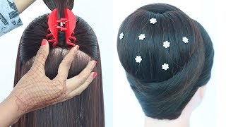 Download chignon hairstyle with clutcher || cute hairstyles || trending hairstyle || elegant hairstyle Video