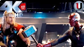 Download Vision Lifts Thors Hammer - Creating Vision - Avengers Age of Ultron 2015 Movie Clip (4K HD) Video