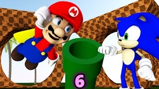 Download SONIC IN MINECRAFT 6 Ft. Super Mario! [3D MINECRAFT ANIMATION] Video