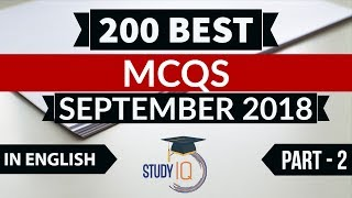 Download 200 Best current affairs September 2018 in ENGLISH Set 2 - IBPS PO/SSC CGL/UPSC/IAS/RBI Grade B 2018 Video