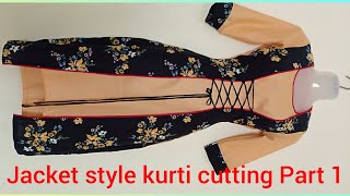 Download Beautiful double layer jacket style kurti tutorial part 1 Video
