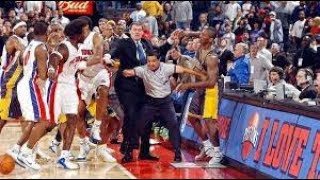 Download Ron Artest and Ben Wallace Fight in NBA Pacers Pistons Brawl Local HD Broadcast Video