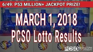 Download PCSO Lotto Results Today March 1, 2018 (6/49, 6/42, 6D, Swertres, STL & EZ2) Video