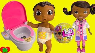 Download Doc McStuffins Potty Trains Baby Cece with LOL Surprise Pet Video