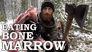 Download Eating BONE MARROW like CAVEMAN in the FOREST | 100-YEAR-OLD AXE!!! | Bow Drill Fire From Scratch Video