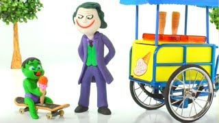Download Baby Hulk Buys Ice Creams w/ Joker Play Doh Cartoons Stop Motion Animations Video