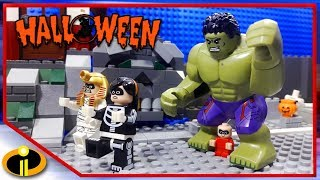 Download Lego Hulk Halloween With Incredibles 2 | Lego Stop Motion - Cartoon For Kids Video