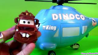 Download Disney Pixar Cars Talking Dinoco Helicopter Transporter ~ Rotor Turbosky The King with Mater Video