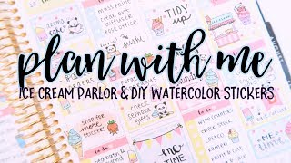 Download Plan With Me - Ice Cream Parlor & DIY Watercolor Stickers Video