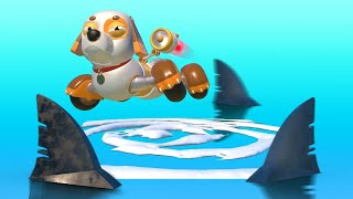 Download AnimaCars - Super Puppy dog versus SHARKS - cartoons for kids with trucks & animals Video
