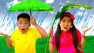 Download Rain Rain Go Away Song | Emma & Jannie Sing-Along Nursery Rhymes Kids Songs Video