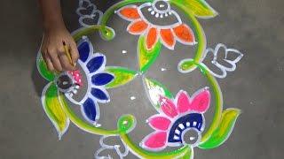 Download Beautiful flower rangoli designs with dots // Alpana designs // kolam designs with dots Video