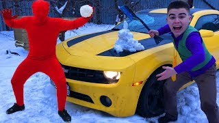 Download Janitor Red Man with Snow VS Mr. Joe on Chevrolet Camaro Started Race in Winter for Kids Video