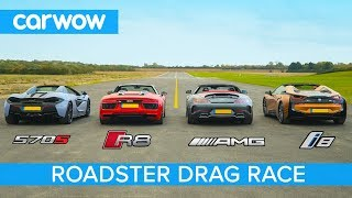Download AMG GT C vs Audi R8 vs McLaren 570S vs BMW i8 - Roadsters ROOF, DRAG and ROLLING RACE! Video