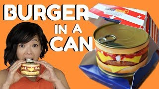 Download HAMBURGER in a CAN Taste Test - ready-to-eat cheeseburger & steak house burger Video