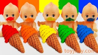Download Learn Colors Play Doh Waffle Cone Sundae Ice Cream Paint Baby Doll Finger Family Song Nursery Rhymes Video