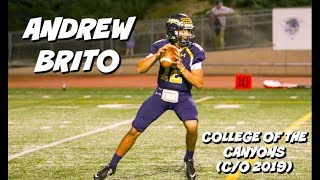 Download Andrew Brito JUCO Freshman Highlights #12 (QB) || College of the Canyons (C/O 2019) Video