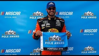 Download Martin Truex Jr. wins Busch Pole Award at Auto Club Speedway Video