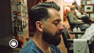 Download Natural Side Part with Soft Edge Skin Fade and a Beard Trim Video