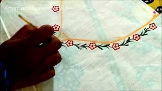 Download Vegetable Block Printing Fabric Painting Neck Design - Ladyfinger (Bhinde ) Printing Video