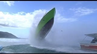 Download Wave hits boat - Accident at Teahupoo Video