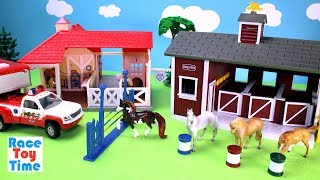 Download Horse Stable Barn and Animal Rescue Breyer Playset - Toy Animals Video For Kids Video