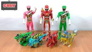 Download Bộ 3 Siêu nhân điện long và 4 thú điện khủng long đồ chơi trẻ em power rangers thunder dino toy kids Video