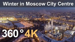 Download 360°, Winter in Moscow City Centre, Russia, 4K aerial video Video