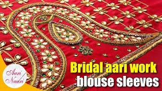 Download Full sleeves aari vanki design | Bridal aari work blouse | vanki design sleeves maggam work Video