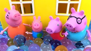 Download STORY WITH PEPPA PIG - GEORGE PIG TAKES A BATH IN WATER BEADS LOTS OF FUN WITH OVERFLOWED HOUSE Video