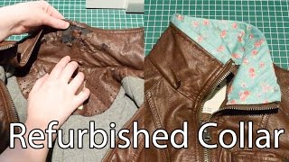 Download Refurbished Collar on a Faux Leather Jacket Video