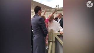 Download Young girl steals the Pope's hat Video