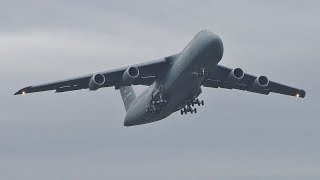 Download *VERY RARE* 2 USAF Lockheed C5M Super Galaxy Takeoffs at Prestwick Airport Video