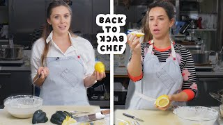Download Elizabeth Olsen Tries to Keep Up with a Professional Chef | Back-to-Back Chef | Bon Appétit Video