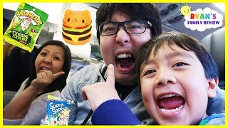 Download Warheads Sour Candy and Squishy Toys Challenge on the Airplane with Ryan and Daddy! Video