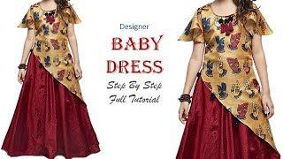 Download DIY Designer Baby Dress With Umbrella Sleeves Full Tutorial Video