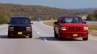 Download '90 Chevy 454 SS vs '94 Ford Lightning F150 MuscleTrux Wars Part 1 - Trucks! S10, E1 Video