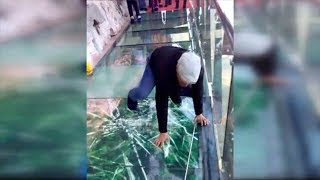 Download Tourist terrified by new glass walkway that cracks under weight Video