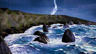 Download Rain + Thunder + Ocean Waves   Sleep, Study, Relax   Rainstorm White Noise 10 Hours Video