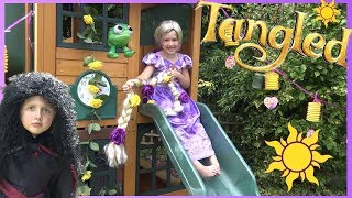 Download Disney Princess Rapunzel uses her SUPER LONG HAIR to get Tangled Movie Toys ! Video