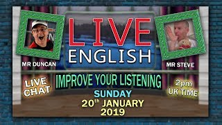 Download LEARN ENGLISH LIVE - 20th January 2019 - Sleep words and phrases - Mr Steve in Bed - Mr Duncan Video