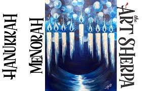 Download How to paint with Acrylic on Canvas Hanukkah Menorah Step by Step #5 Video