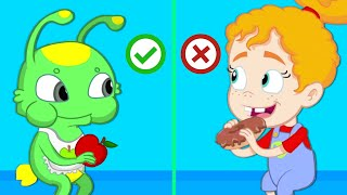 Download Groovy the Martian - Lunchbox challenge at school! Learn to eat healthy fruits and veggies Video