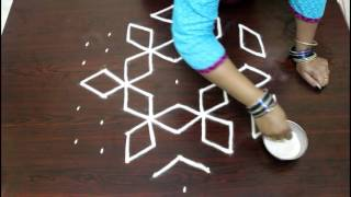 Download star kolam with 9 to 5 interlaced dots- muggulu designs with dots- rangoli designs with dots Video