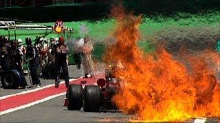 Download Graphic Fire - Ferrari Formula 1 Pit Stop Fire, Brazil F1 Video