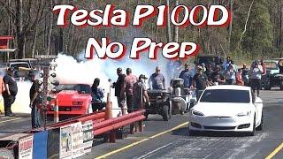Download Tesla P100D Enters NO PREP Drag Race! Video