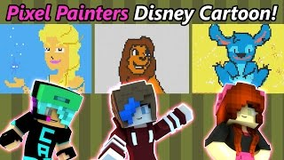 Download Hypixel Pixel Painters Disney Cartoon with Chad Alan & RadioJh Audrey | Minecraft Minigame Video