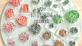 Download How to pipe buttercream succulents - terrarium cake decorating buttercream succulent piping tutorial Video