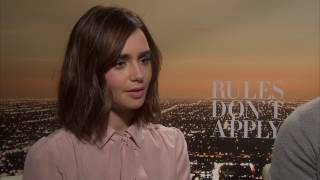 Download Showbiz Shelly Interviews Rules Don't Apply Cast Lily Collins and Alden Ehrenreich Video