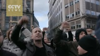 Download Protests against terrorism and refugees break out in Brussels Video